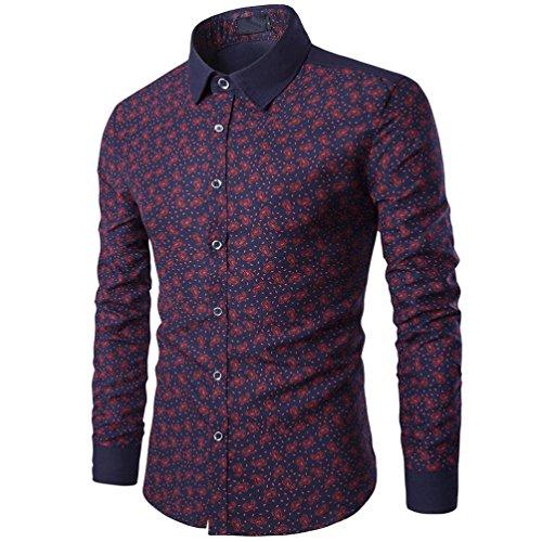 - Litetao Men Button Up Shirt Casual Long Sleeve Business Dress Shirts Slim Print Top (Wine Red, M)