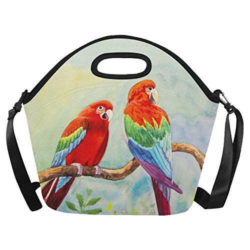 Wild Animals Lunch Box - InterestPrint Watercolor Macaw Couple Bird Large Reusable Insulated Neoprene Lunch Tote Bag Cooler 15.04