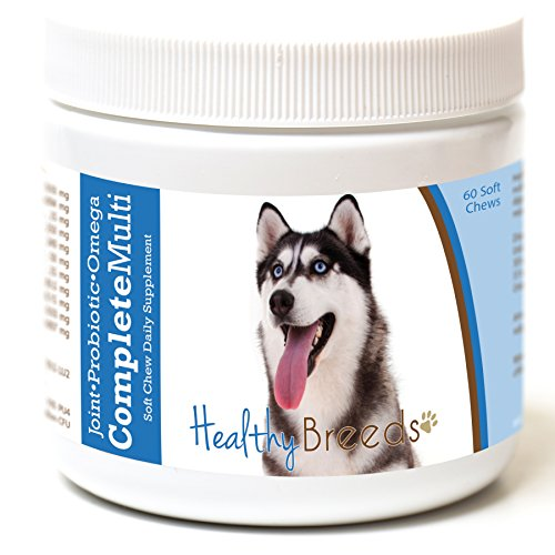 Healthy Breeds Dog Complete Daily Multivitamin Soft Chews for Siberian Husky - Over 200 Breeds - Joint Probiotic Omega 3 6 9 Vitamins - 60 ()