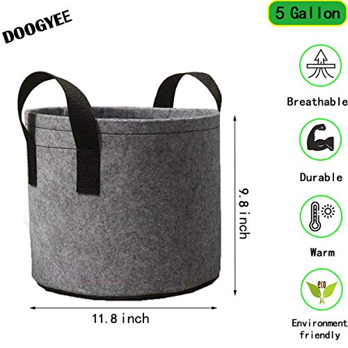 DOOGYEE 5-Pack 5 Gallon Grow Bags Heavy Duty Thickened Fabric Planting Pots with Strap Handles for Potato/Plant Growing (Grey)