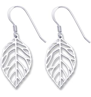 GENUINE 925 SILVER - Sterling Silver Leaf earrings - SIZE: 11 x 20mm. Gift boxed. 6041 wL4rfj