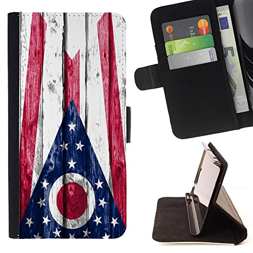 FJCases Ohio The Buckeye State Wood Pattern Flag Slim Wallet Card Holder Flip Leather Case Cover for Apple iPhone 7 Plus/iPhone 8 Plus