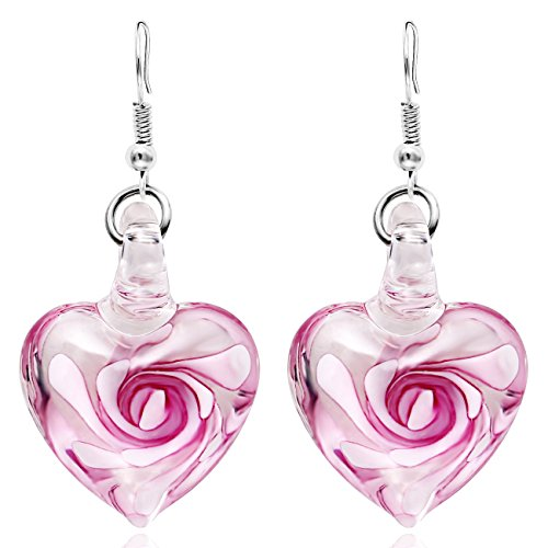 VEINTI+1 Exotic Style Eye-catcher Handmade Romantic Heart with Pink Flower Design Glass Earrings (Pink Earring) ()