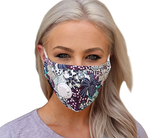 Full Seal Pollution Mask for Men & Women - Reusable Cotton Air Filter Mask With Adjustable Ear Loops Perfect for Blocking Pollution Dust Pollen and Germs (Includes 4 Carbon Filters N99) (Blue-Purple)