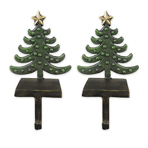 DII Metal Tree Christmas Stocking Hook For Mantel, Fireplace, and Christmas Decoration, Set of 2 - Trees (Simple Stocking Holder)