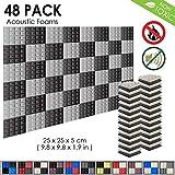 Arrowzoom New 48 Pack of 25 X 25 X 5 cm Pyramid Acoustic Foam Studio Absorbing Tiles Pads Wall Panels AZ1034 (Black & Gray)