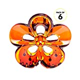 Bleaching Hair From Black To Red - RC ROCHE ORNAMENT Womens Hair Claw Jaw Clip Flower Floral Cute Pretty Girls Ladies Interlocking Teeth Strong Secure Hold No Slip Grip Clutch Clamp Beauty, 6 Pack Count Medium Brown