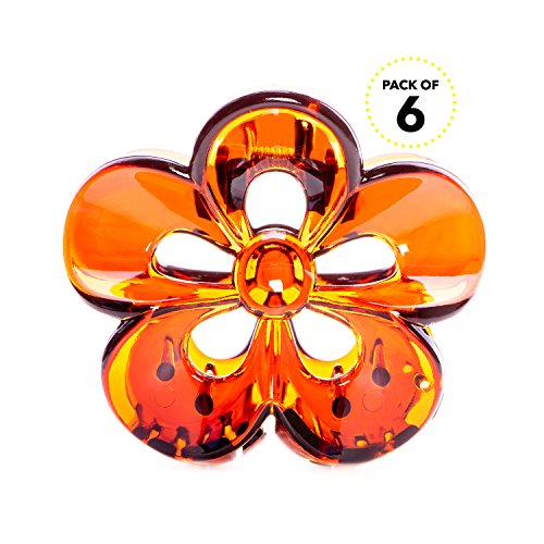 RC ROCHE ORNAMENT Womens Hair Claw Jaw Clip Flower Floral Cute Pretty Girls Ladies Interlocking Teeth Strong Secure Hold No Slip Grip Clutch Clamp Beauty, 6 Pack Count Medium Brown ()