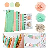 Qian's Party Mint Peach Glitter Gold Tissue Paper Pom Pom Gold Tissue Pom Pom Paper Tassel Polka Dot Paper Garland for Baby Shower Decorations Wedding Nursery Bridal Shower Decorations