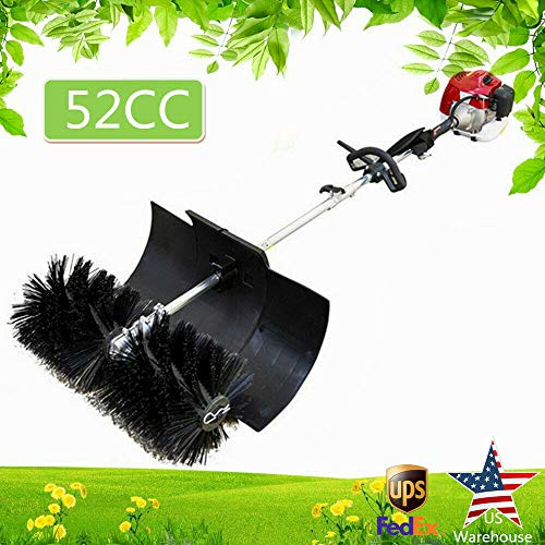 RANZHIX Handheld Sweeper 52CC 2 Stroke Gas Power Sweeping Broom 2.3HP/1700W Hand Held Broom 2 Cycle Oil/Gasoline Mixture Turf Grass Walk Behind Sweeper for Cleaning Boulevards and Driveway