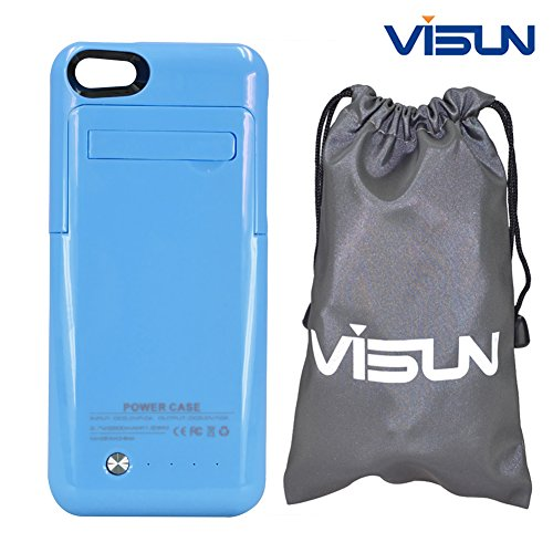 Visun 2200mAh Slim External Rechargeable Backup Battery Charger Charging Case Cover with Pop-Out Kickstand and Visun Waterproof Bag for iPhone 5 5C 5S (Blue)