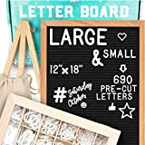 Letter Board 12x18 | +690 PRECUT Letters +Stand +Cursive Words +Upgraded Wooden Sorting Tray | (Black) Letter Board with Letters, Felt Letter Boards, letterboard, Word Board, Message Board (Color: Black, Tamaño: 12x18)