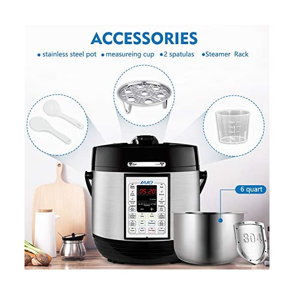 IAIQ 13-in-1 Electric Programmable 6 Quart One-Touch Pressure Cooker, Including Slow Cooker,Rice Cooker,Yogurt Maker… 4