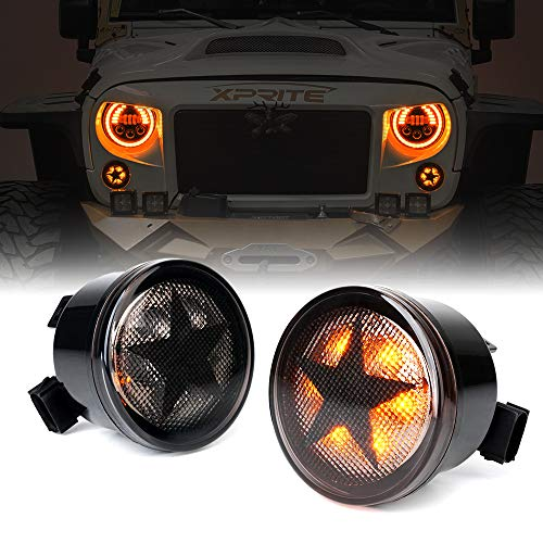 Xprite Five Star LED Front Turn Signal Light Assembly Waterproof Amber Smoke Lens with Parking & Turn Signal Lights Function for 2007-2018 Jeep Wrangler JK & Wrangler Unlimited JKU