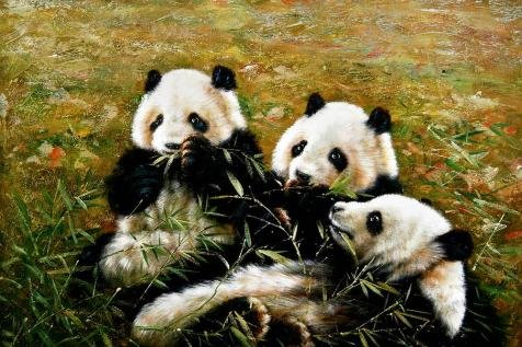 'Cute Pandas' Oil Painting, 8x12 Inch / 20x31 Cm ,printed On High Quality Polyster Canvas ,this High Resolution Art Decorative Prints On Canvas Is Perfectly Suitalbe For Kids Room Decor (Cute Face Painting Ideas For Halloween)