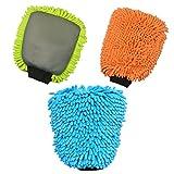 Guteauto Ultrafine Fiber Chenille Microfiber Car Wash Auto Care 2 in 1 Wash Glove Mitt Soft Mesh backing no scratch