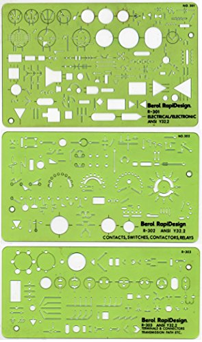 Berol, RapiDesign, R-300, Electrical/Electronic Set (Graphic Symbols For Electrical And Electronics Diagrams)