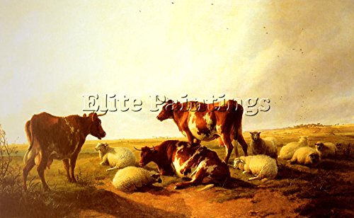 COOPER THOMAS SIDNEY CATTLE SHEEP LANDSCAPE ARTIST PAINTING OIL CANVAS REPRO 24x36inch MUSEUM QUALITY