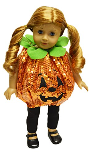 [My Brittany's Sequin Pumpkin Halloween Costume For American Girl Dolls] (Doll Halloween Outfit)