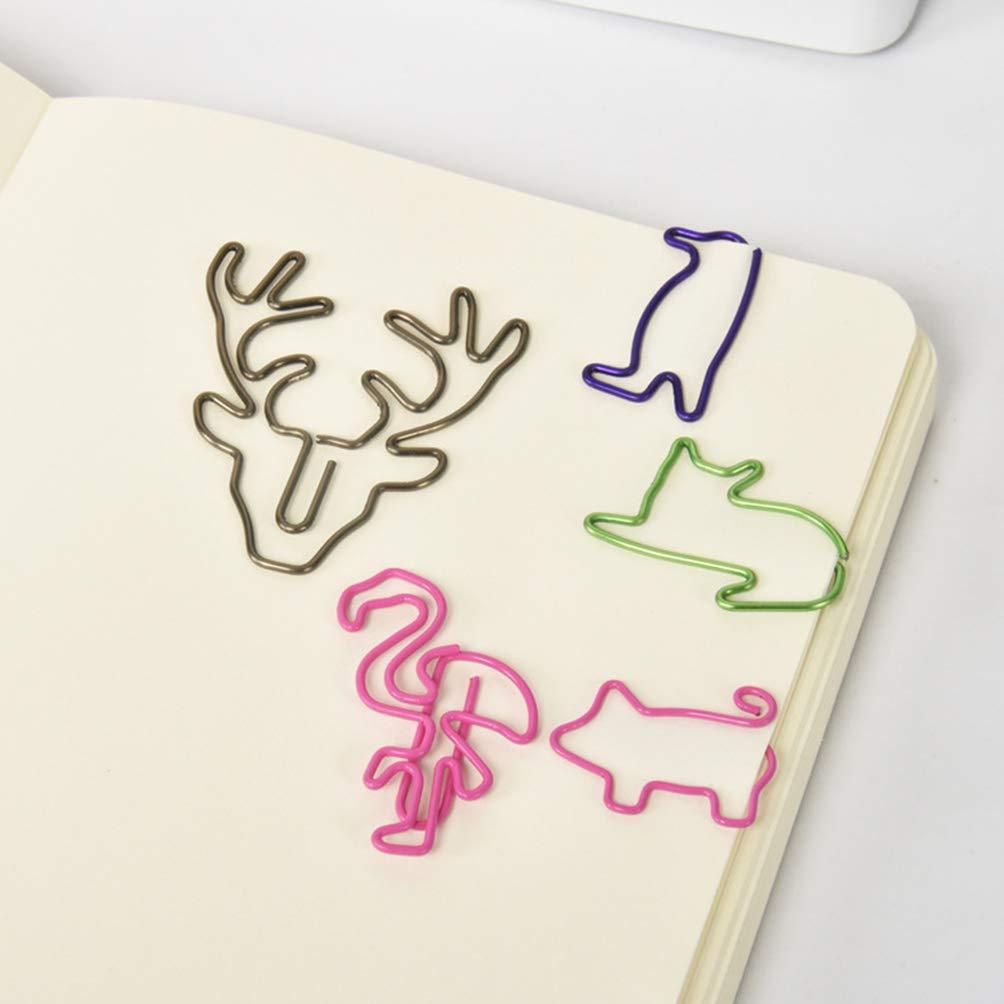 Toyvian clips de papel papel met/álico clips de papel de oficina papel escolar ping/üino titular dibujos animados clips de papel para archivos de fotos papel