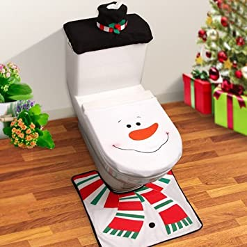 3pcs/set de Papá Noel tapa de inodoro alfombra decoraciones de Navidad toallas de baño Set WC fundas de/alfombrillas/inodoro corta muñeco de nieve patrón: ...