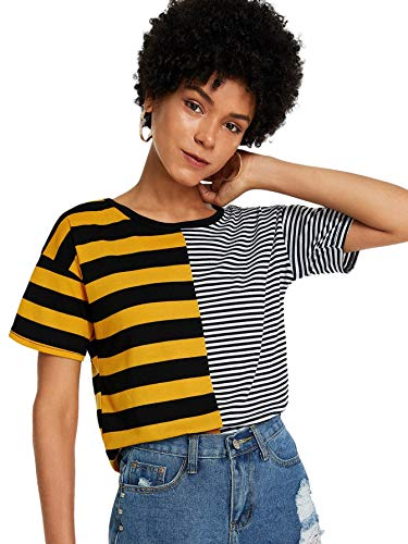 SheIn Women's Cute Colorblock Short Sleeve Crewneck Tops Striped Tee T Shirts X-Large Multicolor ()
