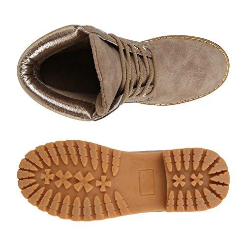 Stiefelparadies Damen Stiefeletten Outdoor Worker Boots Leicht Gefütterte Schuhe Flandell Khaki Metallic
