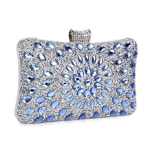 Clocolor Evening Bags and Clutches for Women Crystal Clutch Beaded Rhinestone Purse Wedding Party Handbag (Blue) ()