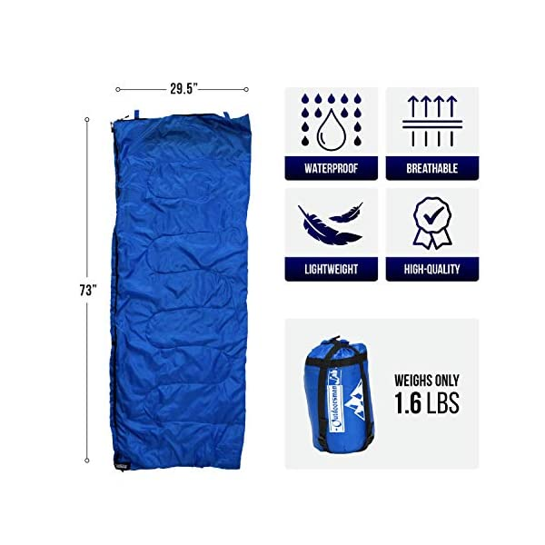 OutdoorsmanLab Sleeping Bag | 50-70F Warm & Cool Weather | Ultra Lightweight & Compact for Camping, Backpacking, Outdoor Events | for Adults & Kids | Includes Compression Sack 7