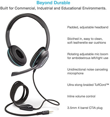 Cyber Acoustics Stereo PC Headset, 3.5mm Connection, in-line Control for Volume, Noise Cancelling Mic & Adjustable Mic Boom for PC, Mac & Tablets, Perfect for Classroom, Home or Office (AC-5002A)