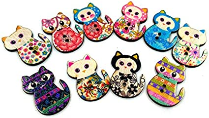 10 WOOD SEWING BUTTON OWL ON LOG SHAPE  ASSORTED   CRAFTS//SCRAP BOOKING