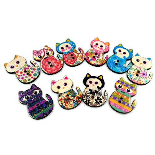 Misright 50pcs Wood Buttons,Cute Cat Buttons 2 Holes Vintage Assorted Buttons Decorative Buttons for DIY Sewing Craft