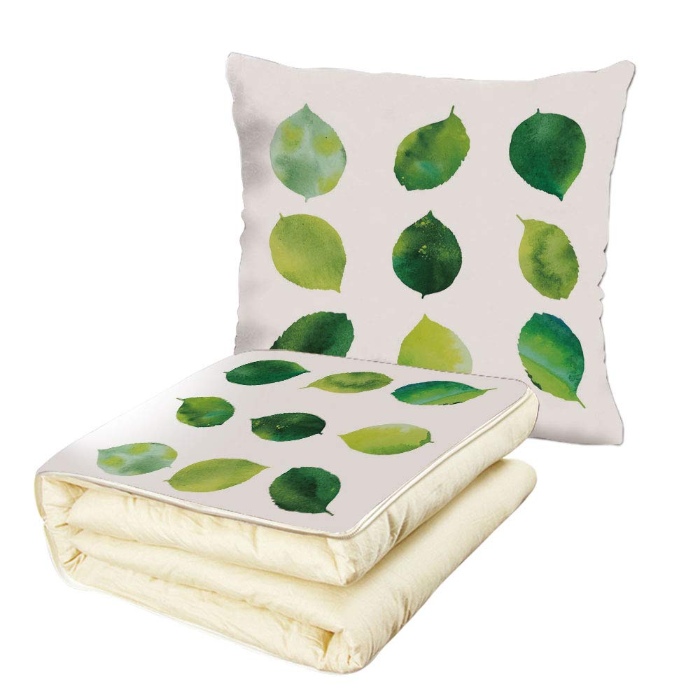 iPrint Quilt Dual-Use Pillow Sage Watercolor Art Theme Set of Green Leaves Fresh Foliage Trees Forest Woods Ecology Decorative Multifunctional Air-Conditioning Quilt Green White