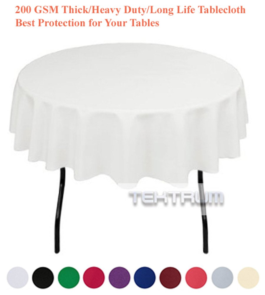 TEKTRUM 70 INCH ROUND POLYESTER TABLECLOTH BLACK COLOR THICK//HEAVY DUTY//DURABLE FABRIC