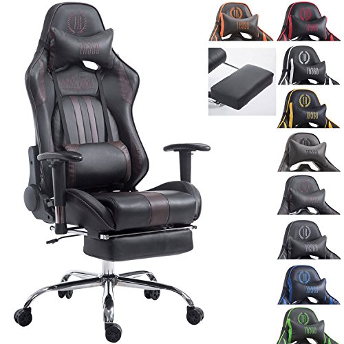 CLP Silla Racing XL Limit Tapizada en Cuero sintetico I Silla Gaming con Soporte Metal Cromado I Silla Oficina con Ruedas I Silla Gamer Regulable en Altura I Color: Negro/marron, con reposapies