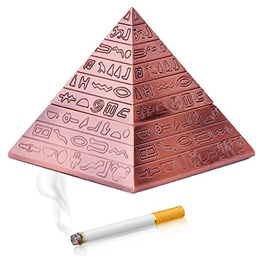Max&Mix Creative Fashion Pyramid Cigar Ashtray with a Lid Ash Retro Carving Tray Holder Storage Box Table Home Bar Decor for Men Smokers,Red