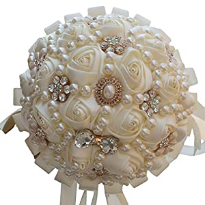 Calcifer Hand Made White Wedding Floral Holding Bouquet Artificial Rose Flower With Big pearls and Rhinestones For Your Romantic Wedding 86