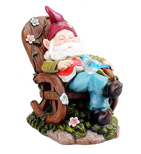 (Bo-Toys Solar Powered Gnome Sleeping In a Chair LED Garden Light Decor)