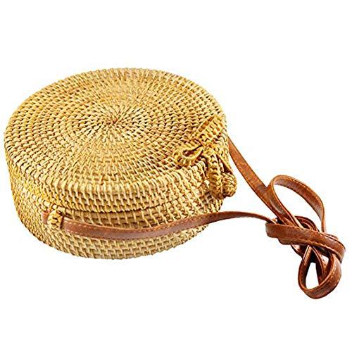 Zinuo Round Woven Ata Rattan Bag Summer Beach Shoulder Bag for Women (U1)