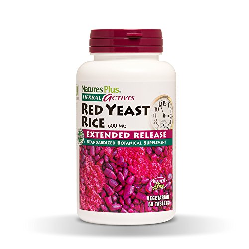 Natures Plus Herbal Actives Red Yeast Rice - 600mg, 1.7% Monacolins - 60 Vegan Tablets, Extended Release - Herbal Supplement - Cholesterol Support - Vegetarian, Gluten Free - 60 Servings