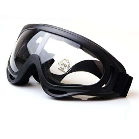129dea4d420f Viriber Snow Googles Windproof UV400 Motorcycle Snowmobile Ski Bicycle Riding  Goggles Eyewear Sports Protective Safety Glasses (Transperant-Lens)  ...