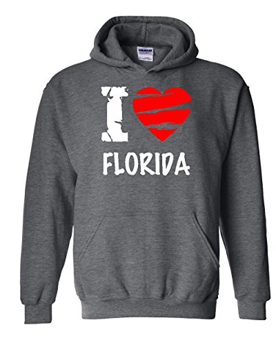 Ugo I Love Florida Map Flag Miami Orlando Home of University of Florida UF Unisex Hoodie - Orlando Florida Stores