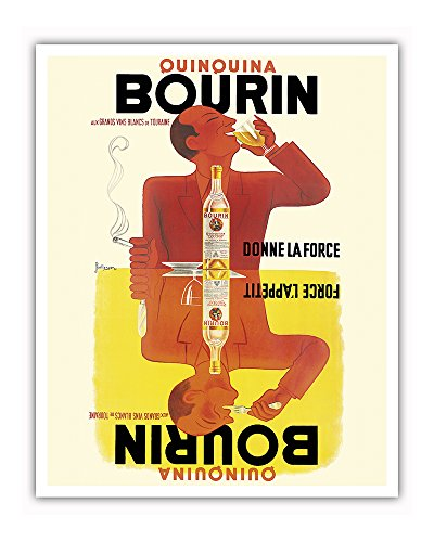 (Bourin Quinquina Vouvray - aux Grands Vins Blancs de Touraine (the Great White Wines of Touraine) - Donne la Force (Provides? Gives? the Force) - Vintage Advertising Poster by Pierre and Jacques Bellenger c.1936 - Fine Art Print - 16in x 20in)
