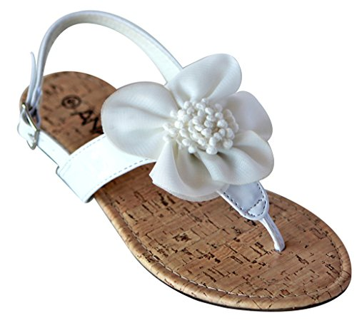 Anna Cap-7 Women's thong toe flower accent patent slingback sandals White (Patent Accent)