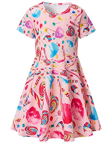 Girls Short Sleeve Dress 3D Print Cute Marshmallow Lollipop Candy Pattern Pink Summer Dress Casual Swing Theme Birthday Party Sundress Toddler Kids Twirly Skirt
