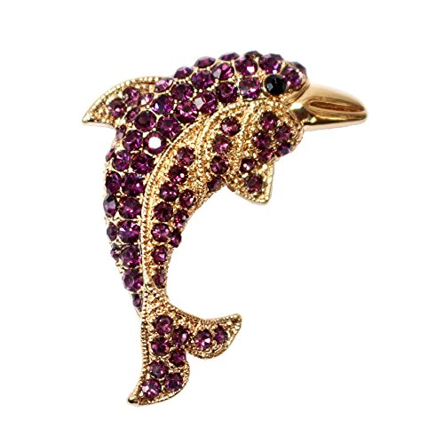 Navachi 18k Gold Plated Purple Crystal Fish Dolphin Az7348b Brooch pin
