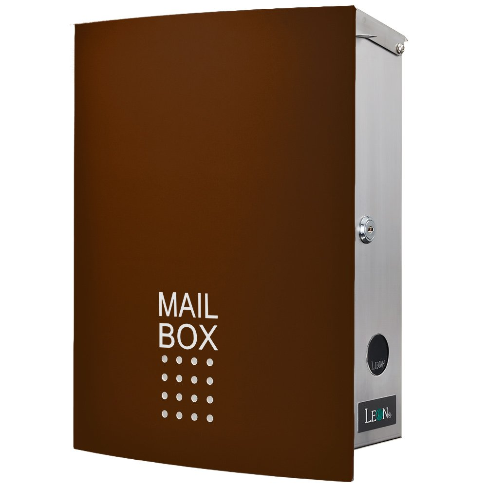 LEON (レオン) MB4504ネオ 郵便ポスト 壁掛けタイプ ステンレス製 鍵付き おしゃれ 大型 ポスト 郵便受け (マグネット付き) チョコレート B079GS1ZZX 24624 チョコレート チョコレート
