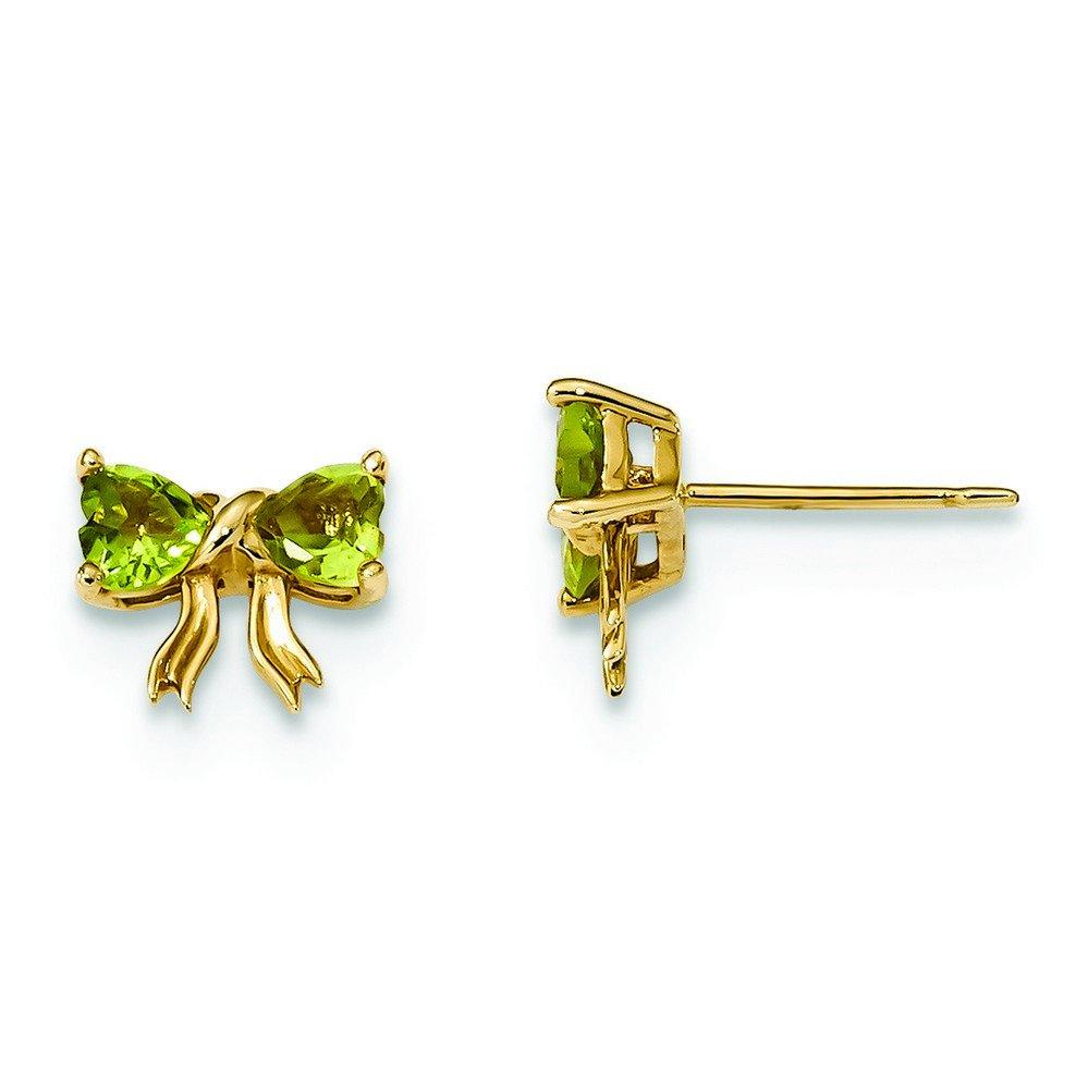 9mm 14k Gold Polished Peridot Bow Post Earrings