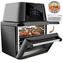 Rotisserie 1800w High Power Air Fryer Plus Food Dehydrator and Oven Combo 17 Quart Large Capacity Black