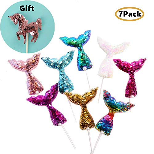 Sequins Mermaid Tail Cake Toppers (Set of 7 and 1 Unicorn) (One Sequin)